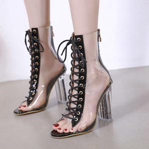 Hot Sale-Women Peep Toe Boots Весна Осень Ботильоны ПВХ Прозрачный Каблук Женщина Прозрачный Блок Сапоги На Высоком Каблуке Туфли Женские