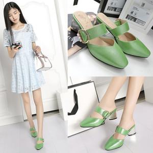 Glittery2019 Popular2019 Xia Femme Sandales Tuoxie Coarse High Avec Des Pantoufles Baotou Cool Codera Les Chaussures Pour Femmes