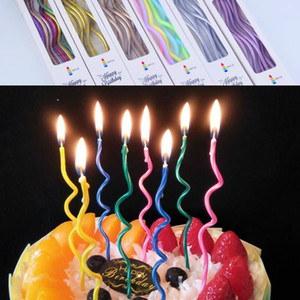 new 6 pcs set colorful curved cake candle, safe candles for kids birthday party wedding cake, home decor candles, Favor supplies