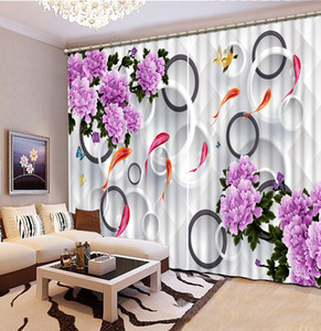 blackout curtains for kids roomNine fishes and garlands 3D Window Curtain Luxury Bedroom Drapes cortina Customized size