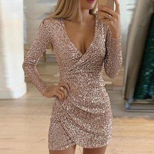Womens Sexy Silver Glitter Kleid mit tiefem V-Ausschnitt Pailletten MiniBodycon Kleid Herbst-Winter-lange Hülsen-Partei-Kleid
