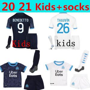 20 21 Olympique de Marsella camiseta de fútbol OM maillot + calcetines 2020 2021 PAYET THAUVIN BENEDETTO camiseta de fútbol niños kit conjuntos de pantalones cortos