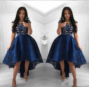 2019 네이비 블루 레이스 칵테일 드레스 라인 크루 넥 하이 로우 로우 댄스 파티 파티 드레스 홈 커밍 드레스 아랍어 Vestidos