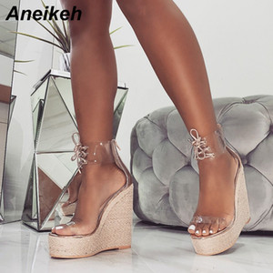 Aneikeh Fashion PVC Sandal Women Transparent Sandals Lace-Up Wedges High Heels Black Gold Party Daily Pumps Shoes Size 35-40 CJ191128