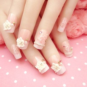 24 Pcs/Set Full Nails Tips With Glue 3D Flowers  Wedding Bride Fake Fingernails Nail Art Decorate Tool EY669