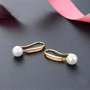 Gold Color 1 Row Zircon White Round Pearl Earrings Women 925 Sterling Silver Drop Earrings Wedding Fine Jewelry