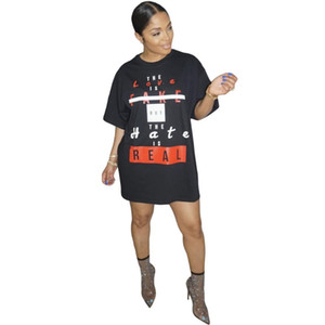 ANJAMANOR Moda Letter sloganı Baskı Kadınlar için Teeshirt Elbise Kısa Yaz Elbise Casual Gevşek Tişörtlü D74-AC22 Giyim