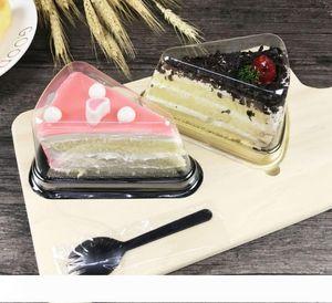 Nueva llegada clara plástica desechable Cake Box solo individuo de 8 pulgadas Triángulo cajas de pastel de postre de embalaje