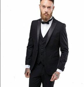 Groommen 정장을위한 블랙 신랑 턱시도 피크 옷깃 베스트 맨 3 조각 망 결혼식 정장 (자켓 + 바지 + 조끼 + 넥타이)