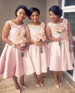 South African Short Bridesmaid Dresses Pink Satin A Line Lace Wedding Guest Party Dress Knee Length Plus Size Maid Of Honor Gowns