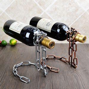 Magical Suspension iron Chain Wine Racks One Bottle Wine Display Racks Stand Holder Kitchen Dining room cellar Bar Decoration