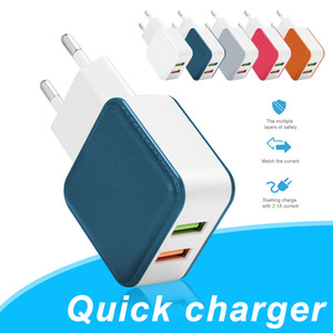 Wall Charger Adapter 2USB Mobile Phone Charging Adapter 5V 2.1A Universal Home Charger EU US PLUG for Universal Cellphones