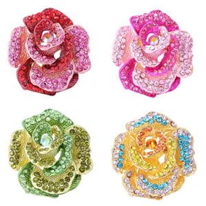 broche del Rhinestone rosa roja nuevo de la manera exquisita de diseño de lujo broches elegantes accesorios de joyería Flor de la serie del ramillete
