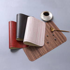 Таблица Mat Кожа PU Pad для Dining Имитация текстуры древесины Placemat Теплоизоляция Non скольжению Modern Placemats Bowl Cup Coasters