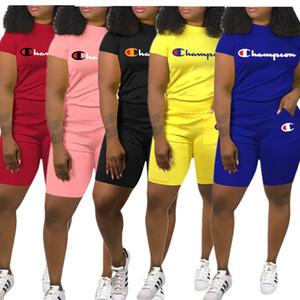 Champions forman los cortocircuitos del chándal de manga corta camiseta de la camiseta de los pantalones cortos + Traje de dos piezas de las mujeres del verano trajes de diseño de letra de Deportes