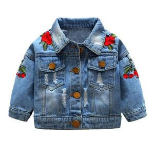 Корейская версия девушки джинсовой куртки куртка весной и осенью новой детской одежда розы вышита детская джинсовой clothin