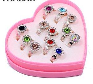 12pcs / set de várias cores cristal de girassol Anéis Jóias Meninas Meninos Crianças ajustável Rhinestone Anéis de casamento de prata do presente do partido