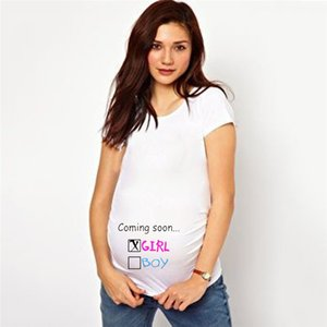 2020 T shirt for Pregnant women Cotton Funny Print white Daily plus size O-Neck Baby Summer Maternity Clothes
