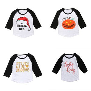 Baby Kids Christmas T-Shirts Letter Printed Long Sleeve Tops Kids Casual Girls Clothes Girl Winter Plug-in Sleeve Tops 1-6T 07