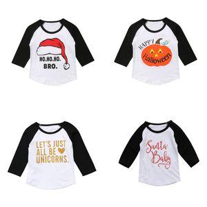 Natal do bebê caçoa t-shirt letra impressa manga comprida Tops Crianças Casual Meninas roupas Menina do inverno Plug-in Sleeve Tops 1-6T 07