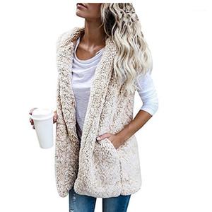 Moda Stil Rahat Giyim Bayan Kış Tasarımcısı Faux Kürk Kolsuz Kalın Açık Dikiş Kapşonlu Kadın Giyim