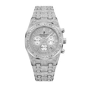 Fashion Men Watch Top Royal Oak Sport Watches Men's Army Military Watch Male Date All diamonds Quartz Clock Relogio Masculino