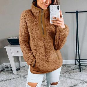 Glaforny Women Winter Sherpa Sweater Teddy Fleece Zipper Turtleneck Pullover Sherpa Fleece Tops Female Winter Warm Coat Sweaters