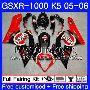 Carrozzeria per SUZUKI GSXR-1000 1000CC GSXR 1000 05 06 Carrozzeria 300HM.0 GSX-R1000 1000 CC GSX R1000 K5 GSXR1000 2005 2006 Carena Lucky Strike Red