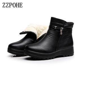 ZZPOHE 2017 Moda Zapatos de invierno de las mujeres de cuero genuino tobillo botas planas Casual Cálido Mujer Botas de Nieve envío gratis