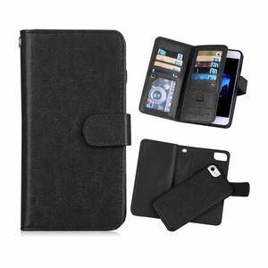 Flip de lujo de cuero de LA PU billetera 2 en 1 caja del teléfono para iphone x 8 7 imán extraíble retro ultra delgado cubierta para iphone xs max xr