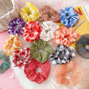 Corda 21colors Chiffon Cabelo Scrunchies menina das mulheres da manta Hairbands Polka Dot listrado Chiffon Tecido do cabelo rabo de cavalo titular Headband GGA2868