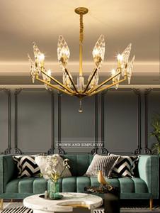 2020 neue Villa Glas-Lampen Licht Kristall-Kronleuchter Luxus-Zimmer Schlafzimmer moderne Kronleuchter minimalistische Atmosphäre leben Beleuchtung Anhänger Lam