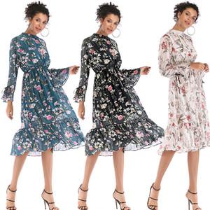 Bahar Kadın Moda Çiçek Baskı Elbise 2020 Yeni Tasarım Big Etek Şık Uzun Elbise
