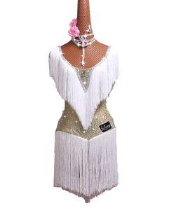 Latin dans kostüm latin dans performansı elbise beyaz etek etek yetişkin parlak çocuklar diamant saçaklı