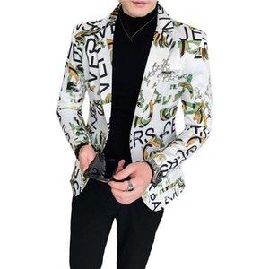 New Men Blazer Luxo Flores Allover Printing Prom Suit Botão Blazers Parte Única Masculino Nightclub Slim Fit casamento paletó