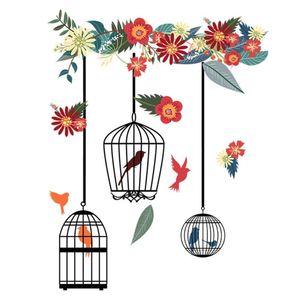 Wall Sticker Waterproof Flor Início Quarto decorativa Bird Cage Padrão DIY Sala Art removível