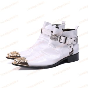 Moda Uomo Stivali Oro Ferro Toe Vera Pelle Stivaletti Lace-up avvio bianco abito da sposa Boots Affari
