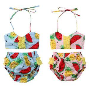 Chica del traje de baño traje de baño de los niños Piña fruta del verano imprimió dos piezas trajes de baño para niños Enlazar Top volante pantalones de los PP del bikini ropa de playa PY664