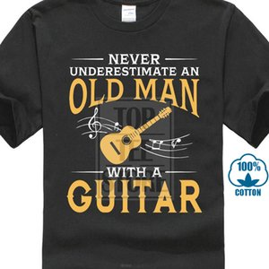 Never Underestimate An Old Man With A Guitar T Shirts Short Sleeved Branded Custom Design T Shirts Family Xxl Size