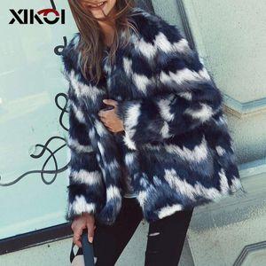 XIKOI Mode Frauen Faux-Pelz-Mantel-kragenlose Jacke Hairy-Pelz-Mantel der Winter-Kleidung Frau 2018 Street Overcoat Abrigo Mujer