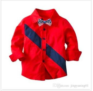 Spring and autumn new boys popular long-sleeved shirt boys red children's clothing wholesale autumn and winter shirts Europe and the United