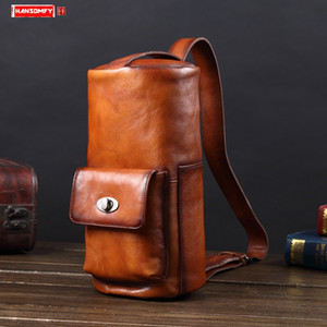 Men's bag leather men chest bag genuine leather handbag shoulder European and American retro messenger bags