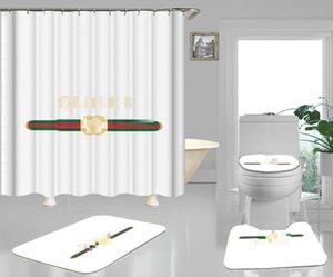세트 레드 그린 스트라이프 클래식 징후가 커튼 욕실 발 커버 없음 슬립 편지 카펫 샤워 화이트 높은 품질 변기 커버