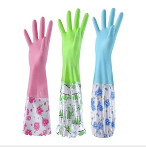 Household comfort and long paragraph four seasons waterproof thick rubber housekeeping dishwashing gloves