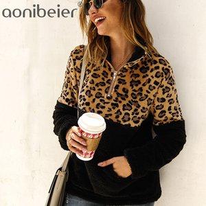 Aonibeier cópia do leopardo da pele do falso dos retalhos Mulheres Brasão 2019 Winter Jacket Ladies Long Sleeve Pullover Pockets quente grossa Outwears