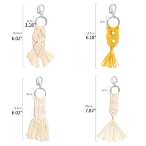Tassel Keychain for Women Boho key Holder Keyring Macrame Bag Charm Jewelry Gift cotton cord Macrame Keychains