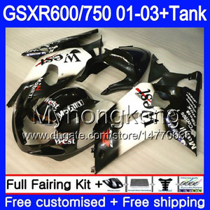 + Carro armato light west nero per SUZUKI GSXR 600 750 GSXR-750 GSXR600 2001 2002 2003 294HM.45 GSX R750 R600 K1 GSX-R600 GSXR750 01 02 03 Carenatura