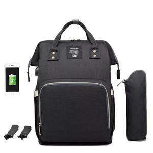 LEQUEEN Bebek USB Arabirimi Bezi Çanta Büyük Kapasiteli Su Geçirmez küçük şişe ile Çanta Çanta Mumya Annelik Seyahat Sırt Çantası Hemşirelik Çanta