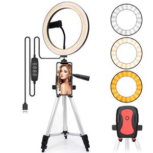 Camera Lampada anello a LED per selfie lampada Light Ring treppiede con la fotografia di illuminazione per YouTube Phone Tripod Holder Clip Studio