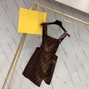retro carta de impressão estilo clássico de 2020 novas mulheres da correia de espaguetes de ventilação jag dupla breasted saia curta suspender vestido